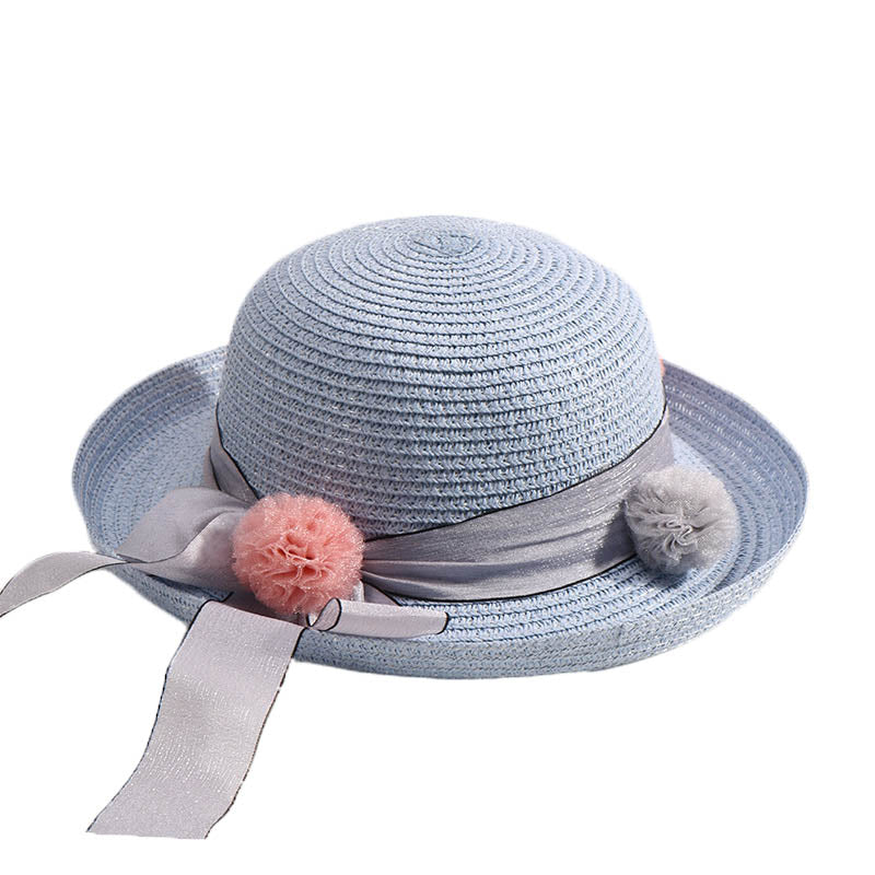 Fashion Girls Boys Straw Hats Summer Baby Floppy Sun Hat Beach Cap Lovely  Children Solid Color Ribbon Decor Cap For Boys Girls a15c9c6c25c