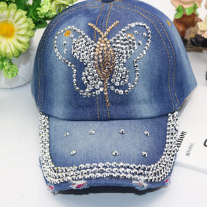 Fashion Girls Rhinestone Embedded Denim Caps Women Baseball Cap Ladies  Summer Adjustable Hat 4a394e6803b
