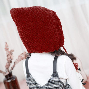 Fashion Girls Winter Solid Knitted Cap Cute Baby Strap Woolen Hat Solid Color Cone Baby Plain Weave Comfortable Warming Hat