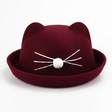 Load image into Gallery viewer, Fashion Kids wo felting Bowler hat girl boy fedora hat Dome cap Children's Cute Winter Cat Ear hats Kids caps felt hats Gift