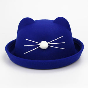 Fashion Kids wo felting Bowler hat girl boy fedora hat Dome cap Children's Cute Winter Cat Ear hats Kids caps felt hats Gift