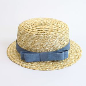 b507f7d4 Fashion Lady Boater Sun Caps Ribbon Round Flat Top Straw Beach hat Panama  Hat Summer Hats