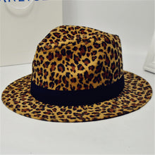 Load image into Gallery viewer, Fashion Leopard Zebra Printing Men Women Unisex Vintage Trilby Cap Fedora Hats Flat Top Leisure Big Brim Felt Panama Hat