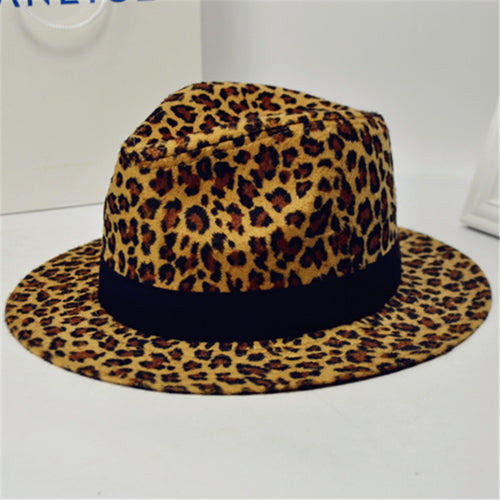 Fashion Leopard Zebra Printing Men Women Unisex Vintage Trilby Cap Fedora Hats Flat Top Leisure Big Brim Felt Panama Hat