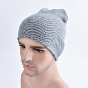 Fashion Men Women Plain Beanie Cheap Knitted Hat Autumn Winter Warm Cap Solid Color Unisex Hip-pop Slouchy Skull Turban Hat