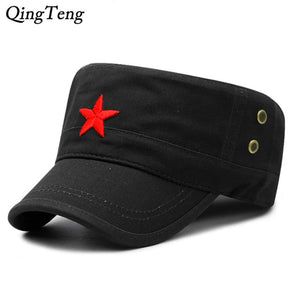 431652fcbf6 Fashion Military Cap Red Star Embroidered Flat Hats Army Cap Outdoor Sun  Casual Sports Tactical Caps