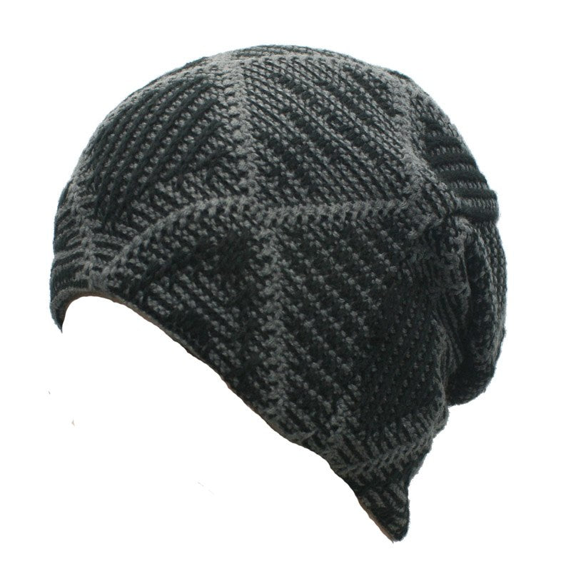 24a335b32 Fashion Plaid Mens Winter Beanie Hat for Male Knit Fleece Hats Warm Casual  Skull Cap Black Grey Red Brown