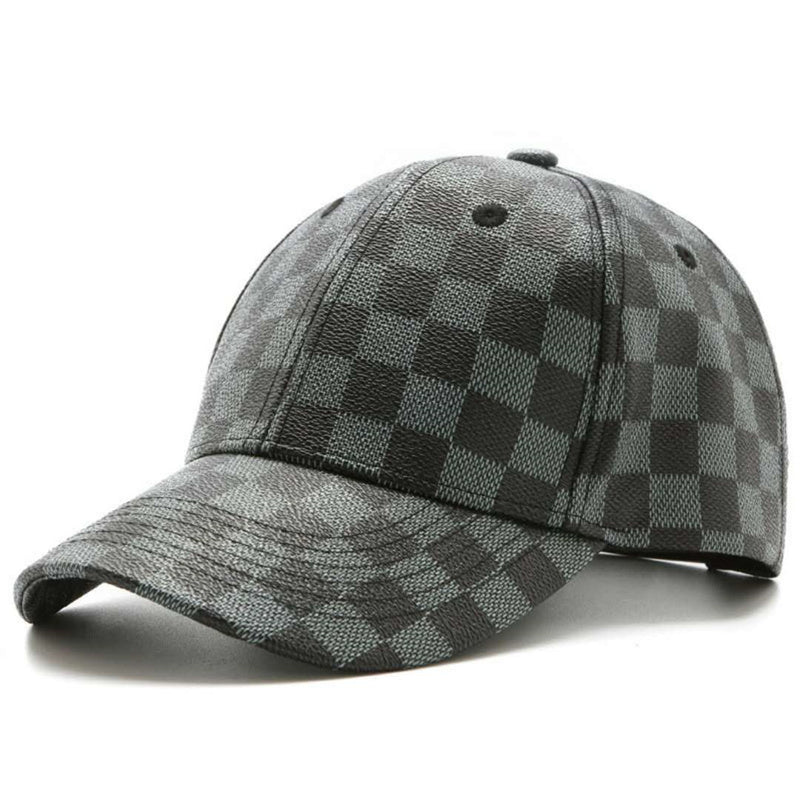Fashion Retro Plaid PU Leather Baseball Cap British Peaked Cap Gorras Painters Casual Cot Caps Snapback Hat Dad and Mom's Hat