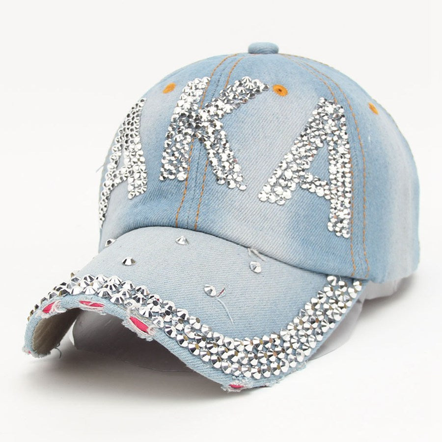 Fashion Rhinestone AKA Diamante Denim Baseball Cap Women's Autu Sports Hat Canvas Snapback Caps Good Quality casquette Causal