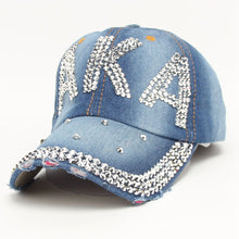 Load image into Gallery viewer, Fashion Rhinestone AKA Diamante Denim Baseball Cap Women's Autu Sports Hat Canvas Snapback Caps Good Quality casquette Causal