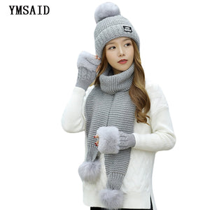 cc6b171b6 Fashion Ski Woman Winter Hat Scarf Gloves Sets Girls Warm Thick Hat Glove  3pcs Sets Cashmere Knitted Hats Scarf Set For Feamle