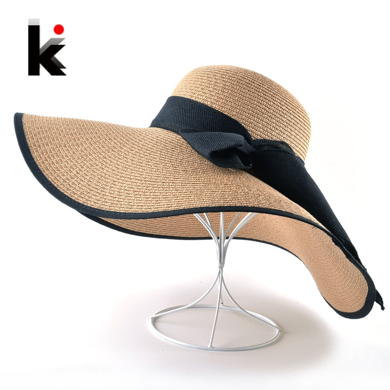 Fashion Straw Hat For Women Summer Casual Wide Brim Sun Cap With Bow-knot Ladies Vacation Beach Hats Big Visor Floppy Chapeau