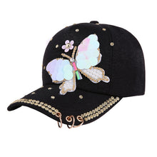 Load image into Gallery viewer, Fashion Style Summer Plain Cotton Women Metal Baseball Cap Snapback Hip Hop Caps 2018 Casual Butterfly Sequins Baseball Cap Hats
