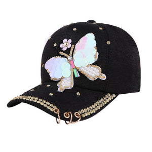Fashion Style Summer Plain Cotton Women Metal Baseball Cap Snapback Hip Hop Caps 2018 Casual Butterfly Sequins Baseball Cap Hats