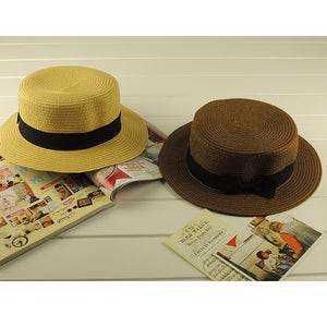 Fashion Summer Unisex Ribbon Belt Can Can Hats Flat Round Topper Beach Fedora Hat Sun Cap For Women