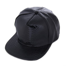 Load image into Gallery viewer, Fashion Unisex Cap Casual Snapbacks Hats Black Blank PU Leather Flat brim Baseball Caps Hip hop Cap Bones Gorras For Men Women
