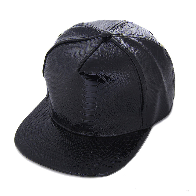 Fashion Unisex Cap Casual Snapbacks Hats Black Blank PU Leather Flat brim Baseball Caps Hip hop Cap Bones Gorras For Men Women