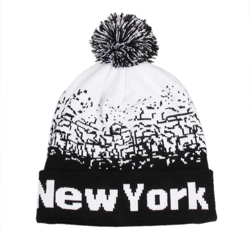Fashion Unisex Men Women NewYork Letter Baggy Warm Winter Wo Knit   Beanies Female Male Skull Slouchy Knitted Caps Hat Men