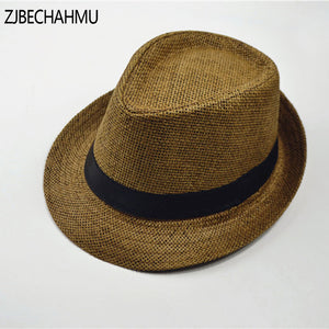 f200eea79142a Fashion Vintage Straw Solid Sun Hats For Men Women Summer hat sun jazz  gangster Girl Trendy Beach Cap Brand Apparel Accessories