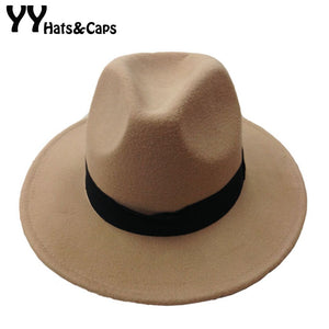 7c70146ef05 Fashion Vintage Trilby Hats For Men Women Wo Fedoras Jazz Hat Wide Brim  with Black Ribbon Panama Caps Fedoras Classic YY0400