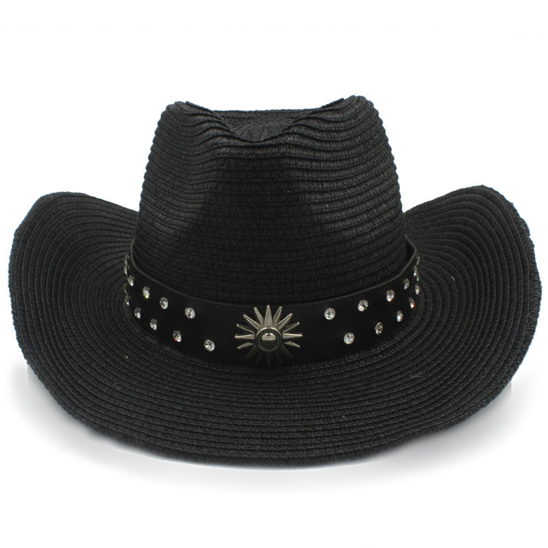 Fashion Western Cowboy Hat for Women Men Jazz Sombrero Cap Summer Hombre Cowgirl Hat With Punk Belt