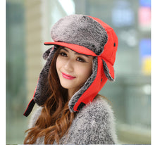 Load image into Gallery viewer, Fashion Winter Hat Korean For Women Men Winter Trapper Hat Unisex Cold Winter Wind Visor Cap Red Black Brown Earflap Bomber Hat