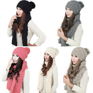 Fashion Winter Hat Scarf Cute Knit Crochet Beanies Cap Hats For Women Warm  Scarf And Hat b9e23ad1b