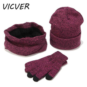 Winter Hats Scarf Gloves Thick Cotton Winter Set Female Male Beanie Scarf Gloves