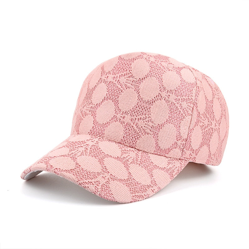 Fashion Women Round Lace Breathable Mesh Baseball Cap Dot Snapback Hat Curved Brim Cot Cap Summer Beach Hip Hop Hats