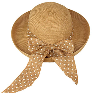 Fashion Women Summer Round Fisherman Hat Top Straw Beach Hat Casual Ladies Bowknot Dot Beach Sun Hat Cap Sunscreen Bucket Hats
