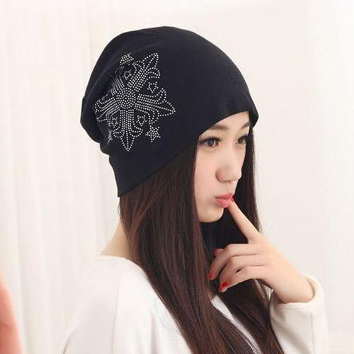 Fashion Women's Hats with Rhinestone Snowflake Cot Turban Beanies for Men Black Lightweight Winter Hats for Women Skullies