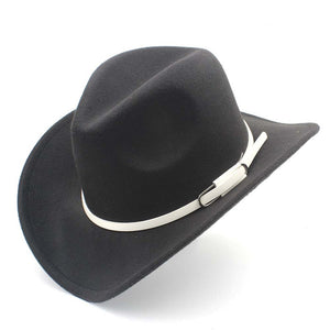 4adf0d3e115 Fashion Wo Women Men Western Cowboy Hat Roll-up Wide Brim Felt Cowgirl Jazz  Godfather Sombrero Cap With White Belt K40