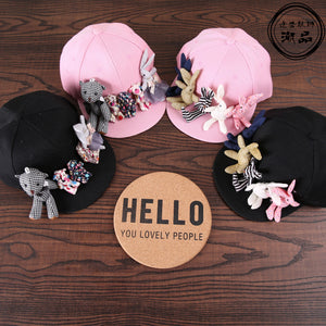 3215f02e Fashion korean cartoon bear rabbit baseball caps kids trendy handmade cute  sun hats vacation casual Visor snapback caps for 3-7