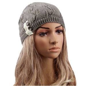 FashionSali 2017 Amazing Winter Cap Hollow Out Women Hats And Caps Knit Hat Beanie Gray Color