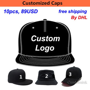 Fast Shipping Wholesale 10PCS LOT Snap Back Adult Kid 3D Embroidery Logo Customize  Cap Custom 3f25182a21ed