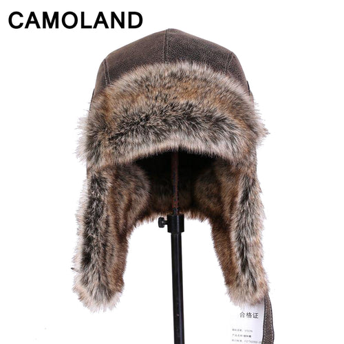 Faux fur Male's Faux Leather Hats Windproof Winter Bomber Hats For boy Waterproof Fleece Earflap Thicken Soviet caps Neck warmer