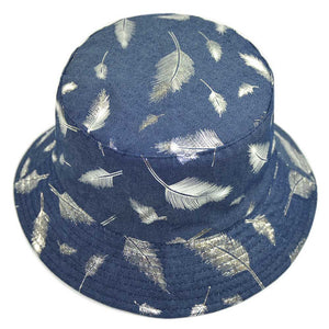 Feather Bucket Hat for Women Men Reversible Denim Summer Autu Printed Fisherman Panama