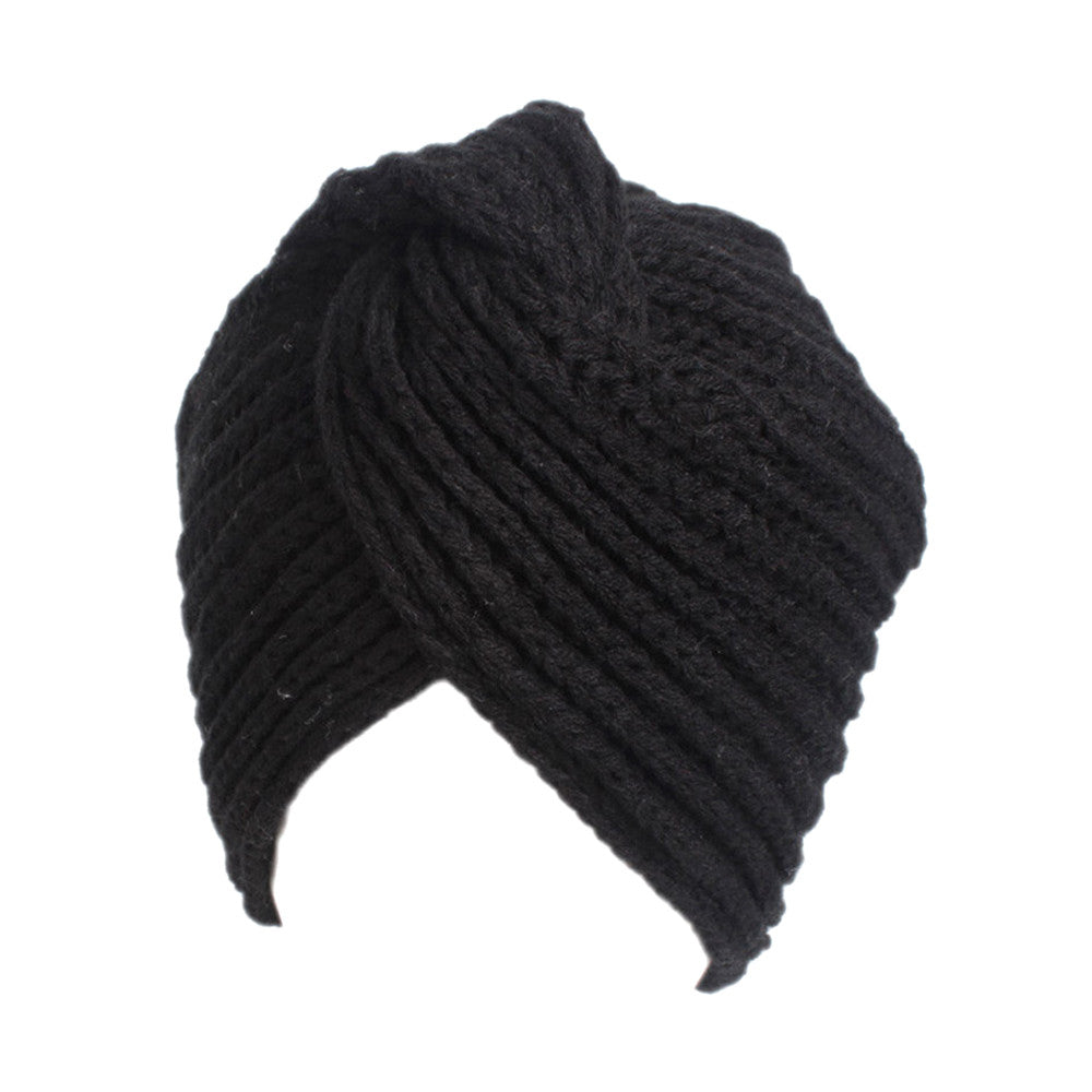 Skullies Beanies Women Ladies Retro Winter Knitting Hat Turban Brim Hat Cap  Pile Caps Winter Hats for Women e06049c23