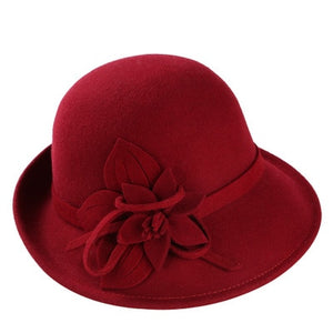 Female Winter Australia Wo Vintage Floral Womens Fedoras Felt Hats Fashion French Bowler Sombrero Fedora Wo Hat For Women