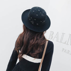 2020 New Handmade Rhinestone Starry Pattern Women Fedora Hat Wo Felt Black Flatcap Ladies Trilby Hat
