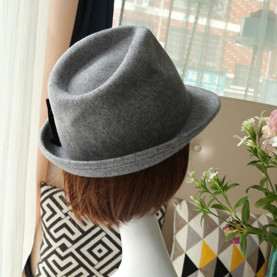 Autumn Winter Flanging Brim Small Fedora Men Jazz Hat Trilby Bow Wo Felt Bowler Hats for Women Jewish Hat