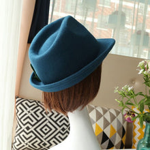 Load image into Gallery viewer, Autumn Winter Flanging Brim Small Fedora Men Jazz Hat Trilby Bow Wo Felt Bowler Hats for Women Jewish Hat