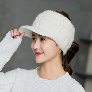 Autumn Winter Rabbit Hair Knitting Baseball Hats For Women Empty Top Visor Sports Fitted Hats Thick Warm Fashion Cap
