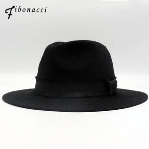Brand Quality Classic Black Break Wo Fedoras Jazz Ladies Hats for Women Men 100% Wo Felt Hat