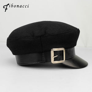 Fashion Women Military Hats Faux Leather Wo Patchwork Black Casual Style Work Sailor Cap Hat