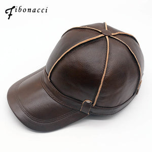 d5093da122f High quality middle aged men s genuine leather baseball cap autu winter  cowhide 6 panel adjustable ear