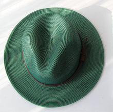 Load image into Gallery viewer, Wide Brim Sun Hat for Women Men Green Panama Floppy Jazz Hat Fedoras Summer Straw Hat