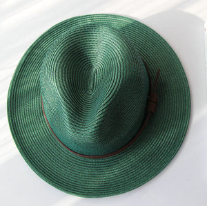 Wide Brim Sun Hat for Women Men Green Panama Floppy Jazz Hat Fedoras Summer Straw Hat