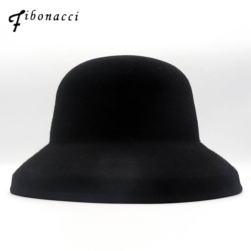 Women Fedoras 100% Wo Felt Bucket Hat Black Dome Autu Winter Fedora Hats