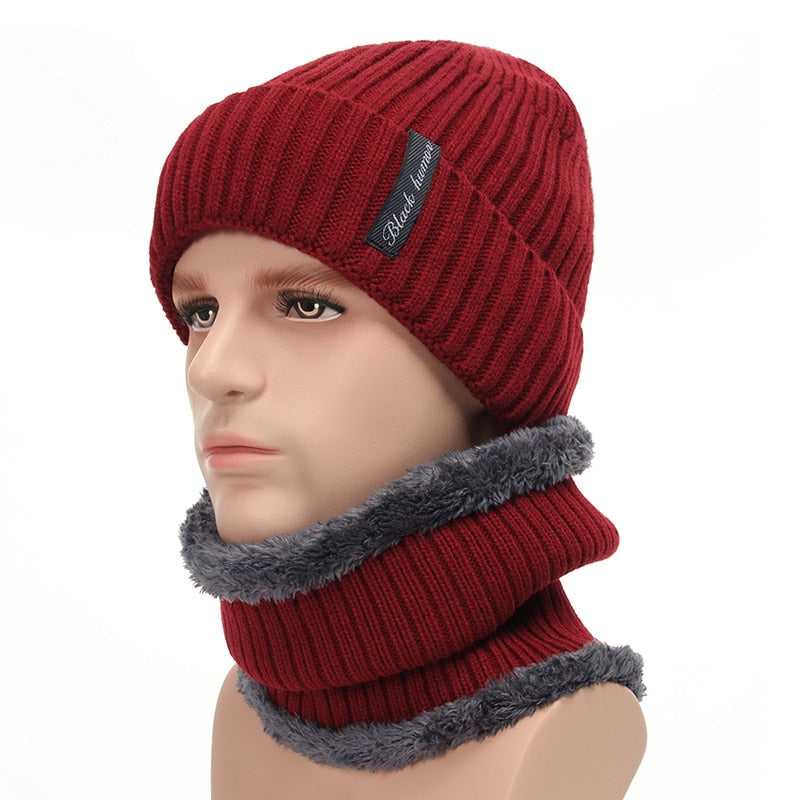 1cabe067e6cb2 Fleece Lined Warm Beanie Hat Men Women Knitted Cap Winter Hat Scarf ...